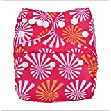 Bumberry Pocket Style Cloth Diaper (White Flowers On Pink) + One Microfiber Insert