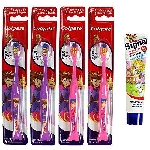 colgate-by-r-com-four-lot-de-2-brosses-a-dents-enfant-violet-rose-souple-pour-fille-avec-motif-princ