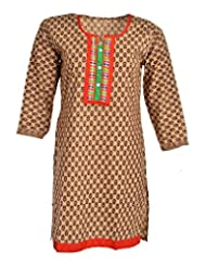 Global Women's Cotton Straight Kurta (GW36Beige40015, Beige, 40)