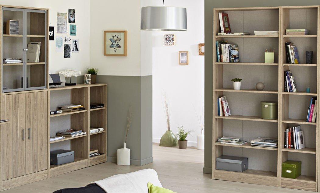 Wohnzimmer Sophal 28 Eiche 4x Regal Schrank Regalwand Vitrine Wohnwand Vitrinenschrank Arbeitszimmer Jugendzimmer