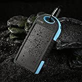 Levin Giant Solar Panel Charger 12000mAh Rain-resistant and Dirt Shockproof Dual USB Port Portable Charger Backup External Battery Power Pack for Phone 5S 5C 5 4S 4 iPad Air Other iPads iPods Samsung Galaxy S5 S4, S3, S2, Note 3, Note 2, Most Kinds of Android Smart Phones and Tablets Gopro Camera and More Other Devices (Blue)