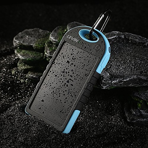 Levin™ Solstar Giant+ Solar Panel Charger 12000mAh Rain-resistant and Dirt/Shockproof Dual USB Port Portable Charger Backup External Battery Power Pack for Phone 5S 5C 5 4S 4, iPad Air, Other iPads, iPods(Apple Adapters not Included), Samsung Galaxy S5 S4, S3, S2, Note 3, Note 2, Most Kinds of Android Smart Phones and Tablets, Gopro Camera and More Other Devices (Blue)