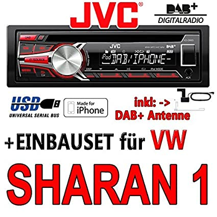 VOLKSWAGEN sharan 1 jVC-kD-dB65 dAB autoradio cD/mP3/uSB avec dAB et antenne
