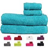 Casa Basics 450 GSM Premium Quick Dry 4 Pcs Bath Towels Set- Blue (Bath,Hand Towel Set)