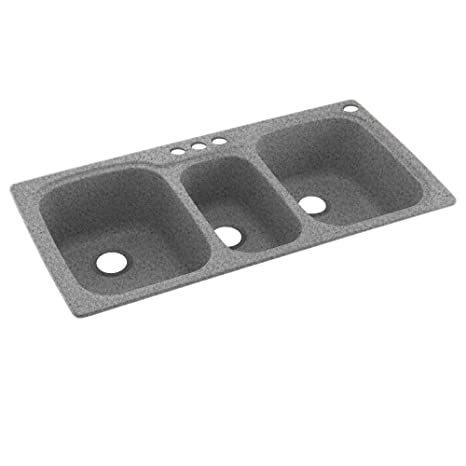 Swaoi|#Swanstone KS04422TB.042-4 44-In X 22-In Solid Surface Kitchen Sink 4-Hole, Gray Granite,