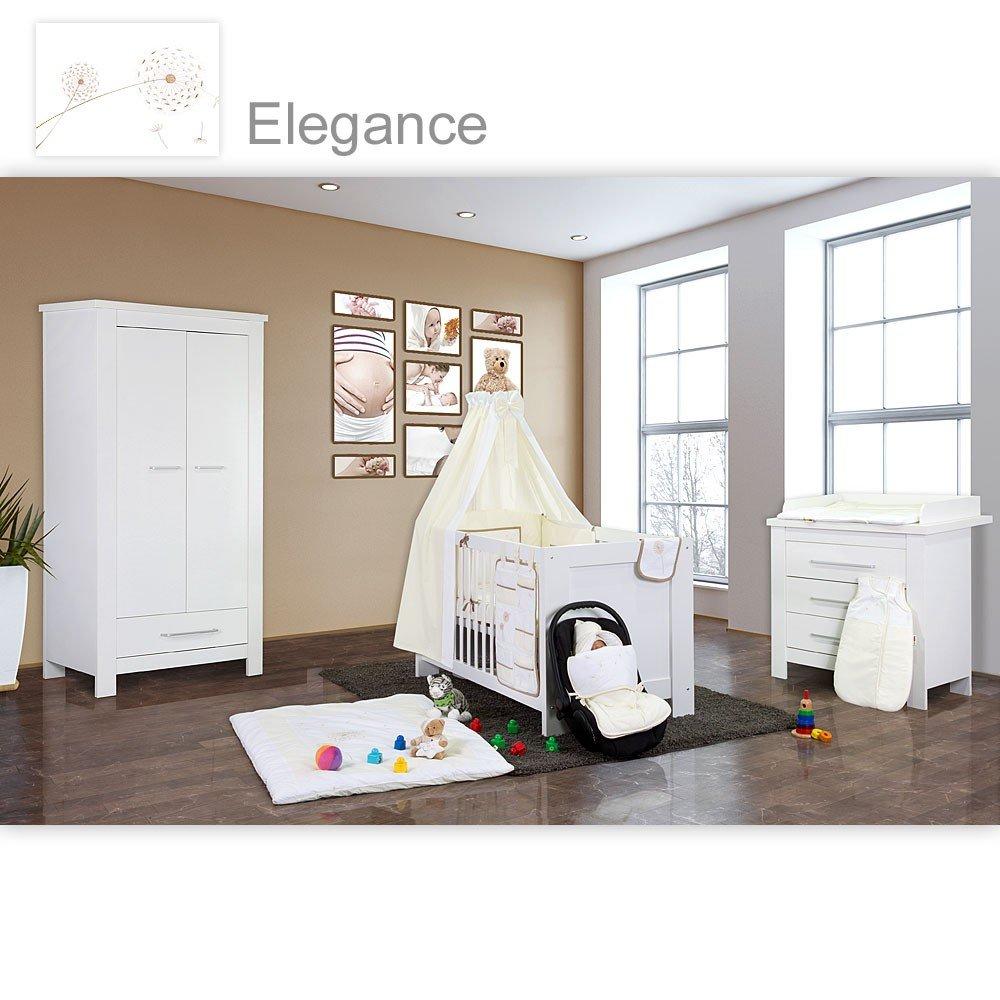 Babyzimmer Enni in weiss 21 tlg. mit 2 türigem Kl. + Elegance, Weiß