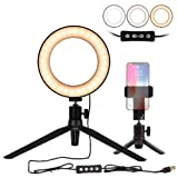 Natwag 6'' Selfie Ring Light with Tripod Stand & Cell Phone Holder for YouTube Video and Makeup,Live Stream,Portrait Photography.Mini LED Camera Light with 3 Light Modes & 11 Brightness Level (Color: Led Ring Light-6''-A)