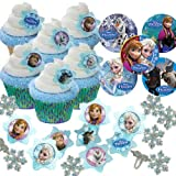 24 Disney Frozen Cupcake Rings / Cups / Favor Stickers