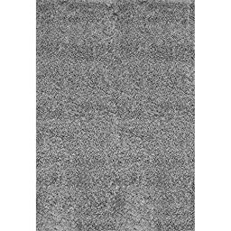 nuLOOM Bobo Shag Collection Shags Contemporary Solid and Striped Machine Made Area Rug, 4-Feet by 6-Feet, Grey