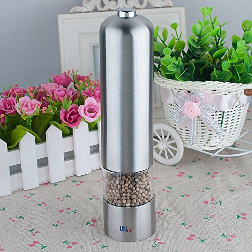 Uname Stainless Steel Adjustable Electric Salt And Pepper Grinder With Lighting, Round Un062