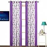 Enaakshi 2 Piece Polyester Eyelet Door Curtain - 7 ft, Purple and White
