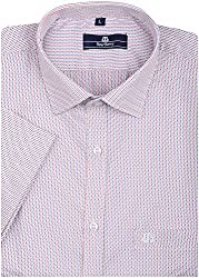 BearBerry Men's Formal Shirt (0021-BBST-1 _ 42, Red and White)