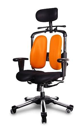 NOVITÀ HARA SEDIA, la sedia ergonomica che scarica la pressione dei dischi intervertebrali e migliora l'irrorazione sanguigna dei glutei. Modello: NIETZSCHE, Colore: NERO-ARANCIONE