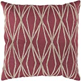 "Surya COM-019 Hand Crafted 100% Cotton Strawberry Red 18"" x 18"" Geometric Decorative Pillow"