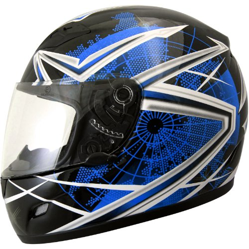 THH TS-39 #10 Globe Full Face Motorcycle Helmet M Black/Blue