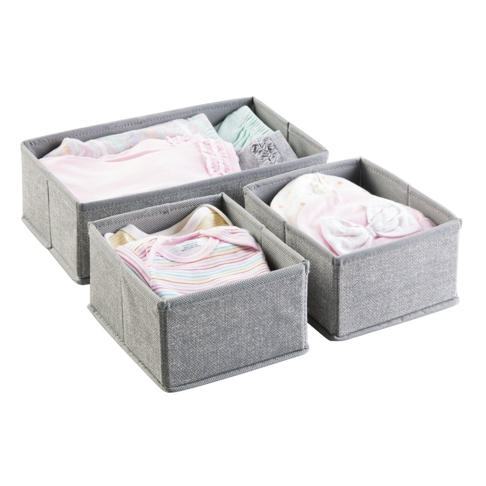 mDesign Fabric Baby Nursery Closet Organizer for Clothing, Hats, Bibs, Diapers - Set of 3, Gray