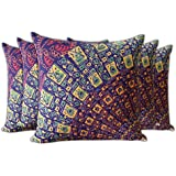 CraftedIndia Multicolour Printed Cotton Cushion Cover - Set Of 5