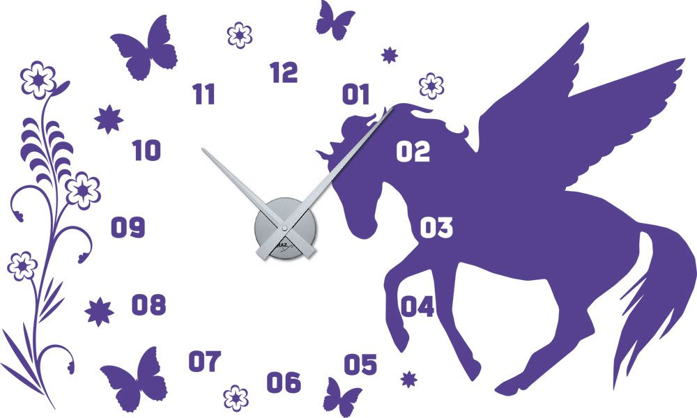Wandtattoo Uhr mit Uhrwerk Wanduhr Kinderzimmer Mädchen Pferd Blumen (Uhr Silber//043 lavendel) kaufen