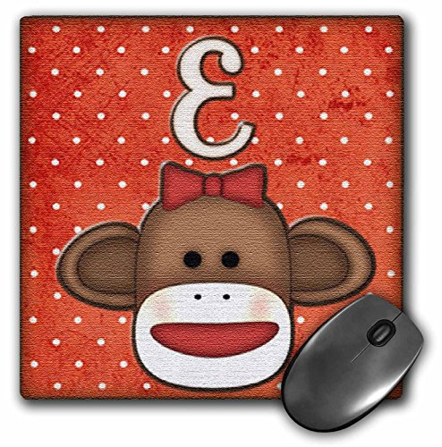 Dooni Designs Monogram Initial Designs - Cute Sock Monkey Girl Initial Letter E - MousePad (mp_102808_1) at 'Sock Monkeys'