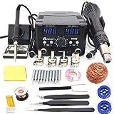 2 IN 1 800W LED Digital Soldering Station Hot Air Gun Rework Station Electric Soldering Iron For Phone PCB IC SMD BGA Welding SET 110V (8588D SET1) (Color: 8588D SET1)