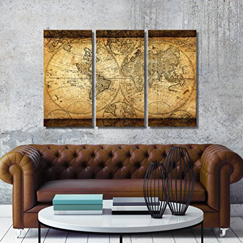 Tophome wall art vintage world map canvas stretched framed ready to tophome wall art vintage world map canvas stretched framed ready to hang 3 panels 16x32artwork gumiabroncs Choice Image