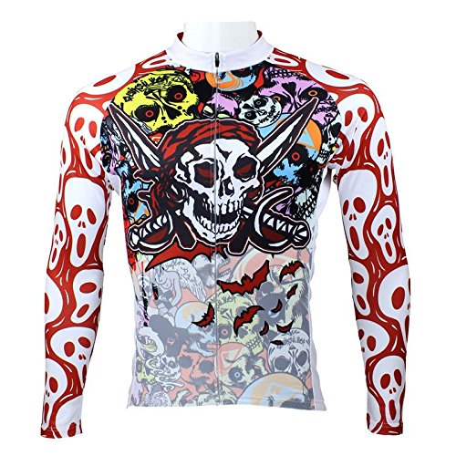 Paladin Men's Pirate Skull Long Sleeve Pro Cycling Jerseys Ciclismo Ropa Size XL (Colombia Retro Cycling compare prices)