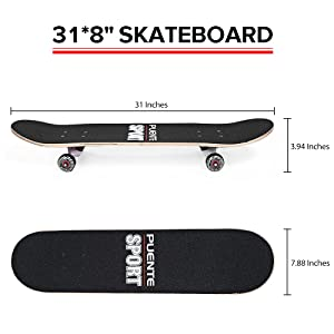 PUENTE Skateboards for Adults and Kids Beginners, ABEC-9