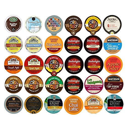 Coffee, Tea, and Hot Chocolate Recyclable Single Serve Cups For Keurig K Cup Pod Brewers Variety Pack Sampler, 30 Count (Keurig Coffee And Tea Pods compare prices)