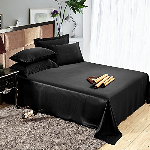 Buy Discount LILYSILK Mulberry Silk Flat Sheet 19 Momme Pure Silk Silk sheet Black King