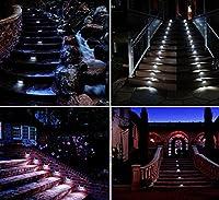 Signstek Solar Powered White LED Staircase Step Lights Stairways Landscape Garden Path Lamp