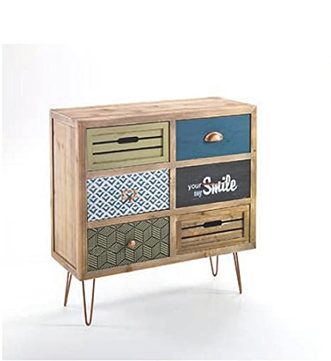 Mobile 6 cassetti. 6 cassetti colorati. Struttura realizzata in legno massello di Abete.