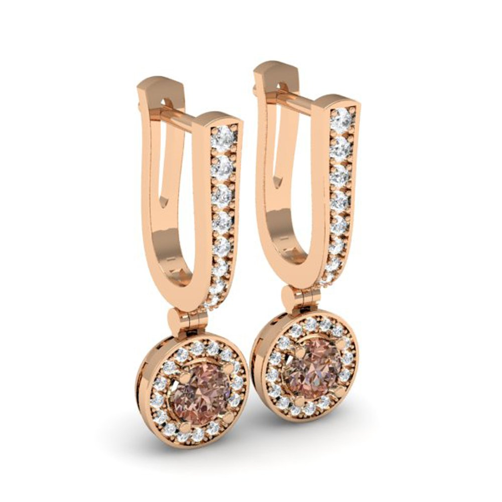 Rose Gold Round Champagne & White Diamond Dangling Earrings  image