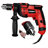 WARSLEY 1/2-Inch Variable Speed Hammer Drill, 3000rpm Dual Drills Mode, 10 Drill Bits, 360° Rotating Handle, Speed Knob for Concrete, Wood, Steel, Masonry (Color: Red and Black, Tamaño: Full Size)