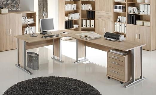 Office Line Winkelkombination Schreibtisch Ecktisch Tisch Burotisch in Eiche Sonoma, Eiche Sonoma
