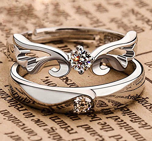 Size 7 pair of 925 silver plated Lovers Crystal Couple Ring Her and His Promise Ring Band
