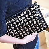 Womens Large PU Leather Rivet Stud Envelope Tote Bag Clutch Purse Handbag
