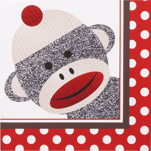 Discover Bargain Sock Monkey Red Lunch Napkins (20) Party Supplies