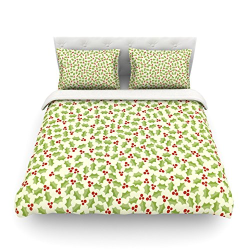 Kess InHouse Heidi Jennings Oh Holly Night Green Cotton Duvet Cover, 88 by 88-Inch kess inhouse danny ivan ticky ticky twin cotton duvet cover