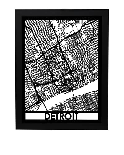 Cut Maps Detroit Framed 3-D Street Map
