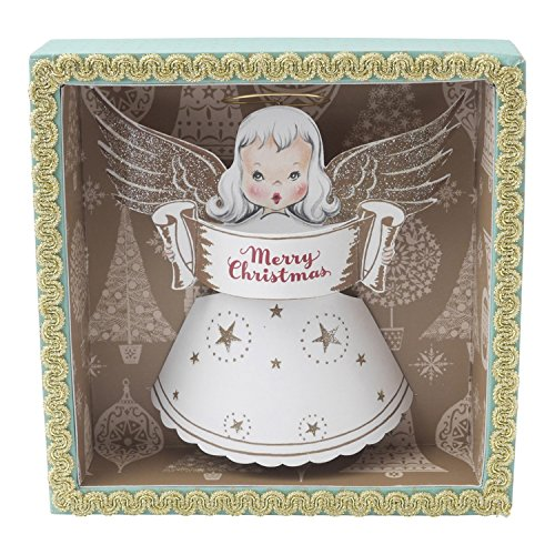 Hallmark Home Decorative Holiday Shadow Box, Mint and Gold Vintage Inspired 1950s Angel