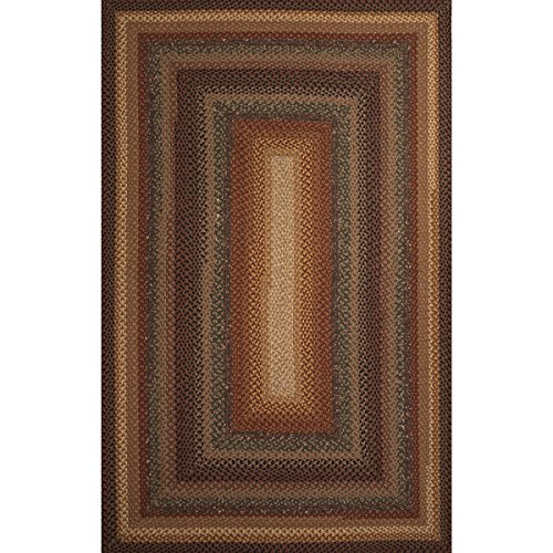 1.65' x 2.5' Copper, Sepia Brown, Caramel and Charcoal Gray Braided Peppercorn Area Throw Rug