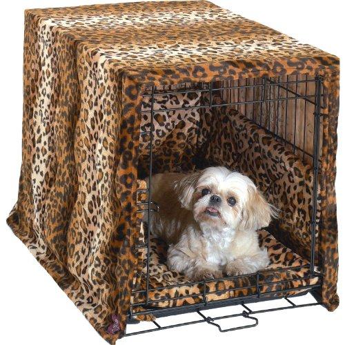 Pet Dreams- Plush Crate Pad, Crate Cover and Bumper Set- Leopard- Medium (Crate Bumper compare prices)