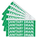 "NMC B1222G Pipemarkers Sign, Legend ""SANITARY DRAIN"", 9"" Length x 1"" Height, 3/4"" Letter Size, Pressure Sensitive Vinyl, White on Green (Pack of 25)"