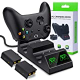 BEBONCOOL Xbox One Controller Batteries Packs, Xbox One X/One S/One Elite Dual Controller Charging Station with 2 Rechargeable Battery Charge Kit (Color: Black)