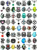 Pro Jewelry (20 Beads Mix) Pack of Assorted Silver Charms, Crystal Bead Charms, Murano Glass Beads and Spacers for European Style Bracelets. Fits Pandora, Biagi, Troll, Chamilla and Many Others