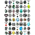 Pro Jewelry (20 Beads Mix) Pack of Assorted Silver Charms, Crystal Bead Charms, Glass Beads and Spacers for Snake Chain Charm Bracelets.