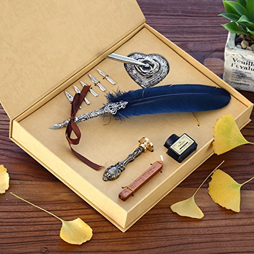 Toyofmine Antique Feather Pen Set (5 Extra Calligraphy Nibs,1 Feather Pen,1 Seal Wax Stick and Stamp with 1 Ink Pot , 1 Pen Holder and 1 Box) 0
