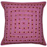 Handcrafted Mirror Work Design Single Cushion Cover For Living Room 16x16 Inches Mother's Day Gift