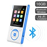 16GB MP3 Players, Portable Music Player Lossless HiFi Sound Media Player with Bluetooth and FM Radio, Pedometer/Voice Recorder 50 Hours Playback Max Expand to 128GB (White+Blue) (Color: White+Blue)