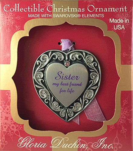 Pewter Heart Sister Christmas Ornament or Wall Decoration